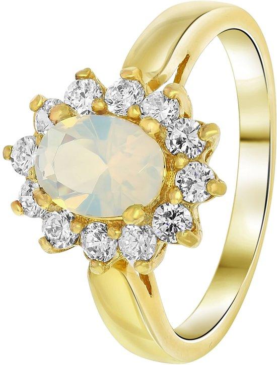 Nouveau Vintage - Goldplated ring milky white met zirkonia