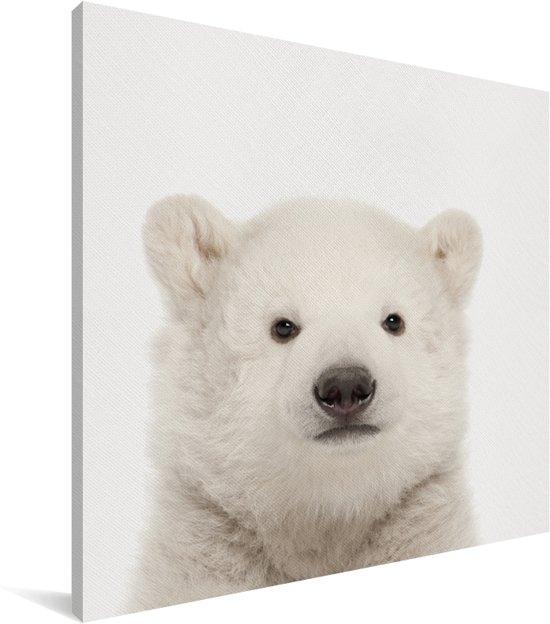 IJsbeertje - Portret dierenprint kinderkamer Canvas 50x50 cm - Foto print op Canvas schilderij (Wanddecoratie woonkamer / slaapkamer)