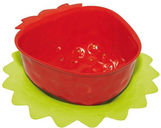 Zak!Designs Vergiet aardbei klein met onderzetter 15 cm. Rood/lime