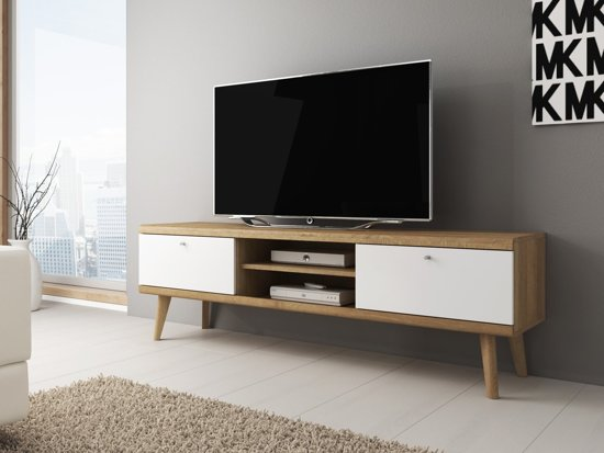 Bol.com meubella tv meubel primavera wit licht eiken 160 cm