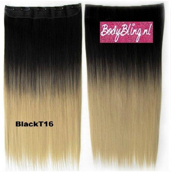 Clip in hair extensions 1 baan straight zwart / blond - BlackT16