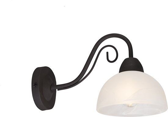 QAZQA Dallas - Wandlamp - 1 lichts - mm - roestbruin