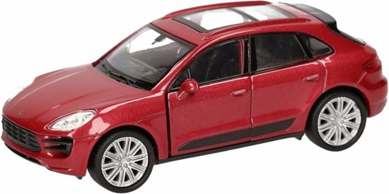 Speelgoed rode Porsche Macan Turbo auto 12 cm - modelauto / auto schaalmodel