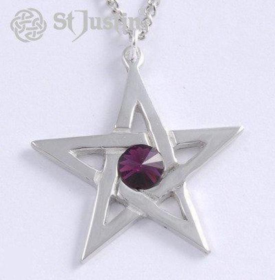 pentagram hanger met amethist kleur kristal