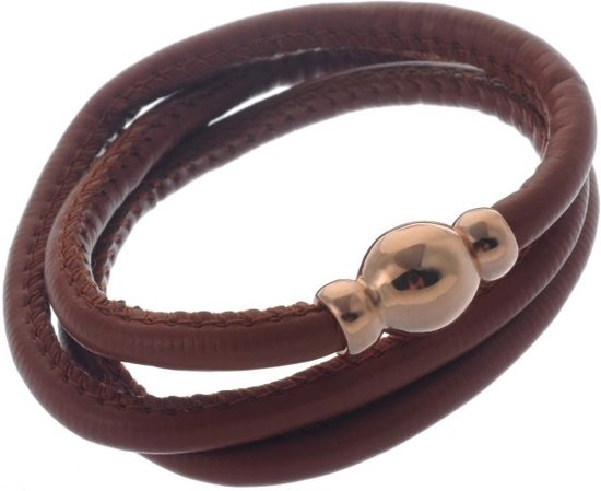 Wikkel armband in PU leer met magneet sluiting