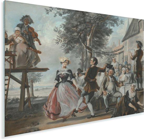 De bruiloft van Kloris en Roosje - Schilderij van Cornelis Troost Plexiglas 160x120 cm - Foto print op Glas (Plexiglas wanddecoratie) XXL / Groot formaat!