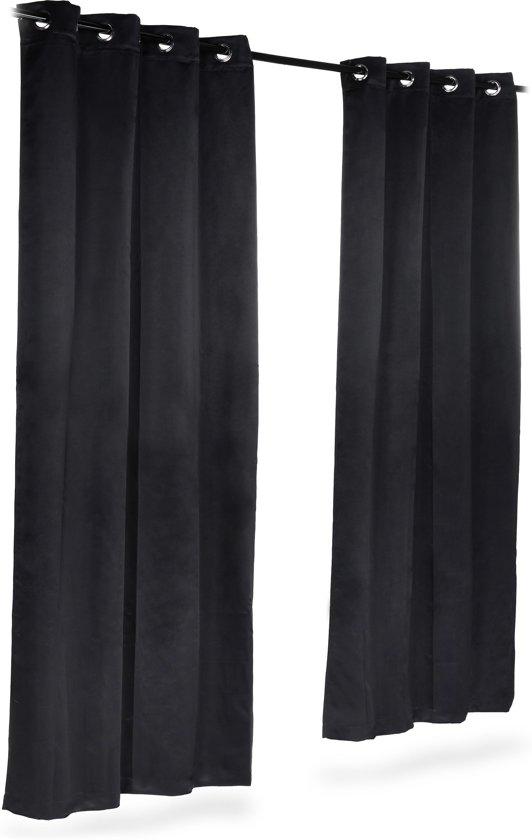 relaxdays verduisterend gordijn met ogen set van 2 stuks effen polyester blackout
