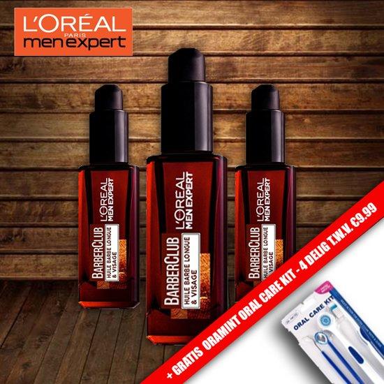 Loreal Men Expert BarberClub Baard & Gezichts Verzorging 30 ml - 3 Pack Voordeelverpakking + Gratis Oramint 4 Delig Dental Kit