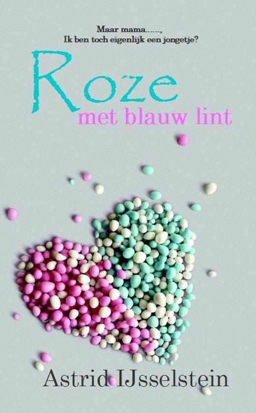 Roze met blauw lint