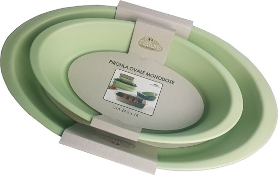 RoyalKonig Pirofila set van 2 lichtgroene ovale ovenschalen, groot en klein