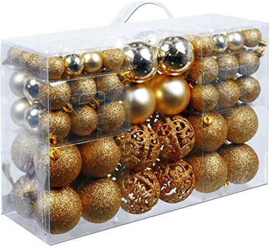 Kerstballen set - 100 ballen - Plastic / Kunststof | Koper / Bruin
