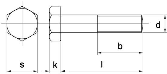 Huismerk - Zeskantbout Din 931 8.8 Therm.verzinkt ISO