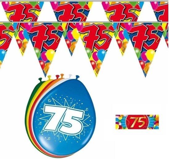 2x 75 jaar vlaggenlijn + ballonnen