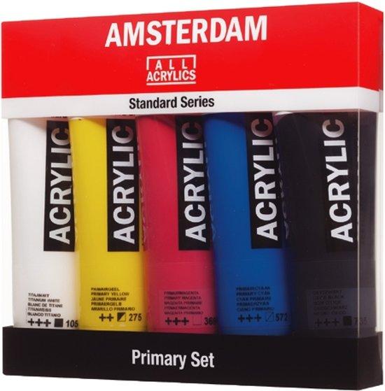 "Amsterdam Standard acrylverf 5 tubes 120ml ""Primary"""