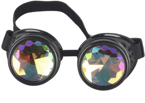 832226fbe6dc4a Kaleidoscoop bril goggles Steampunk - zwart - diamant holografisch space  rave kleuren festival