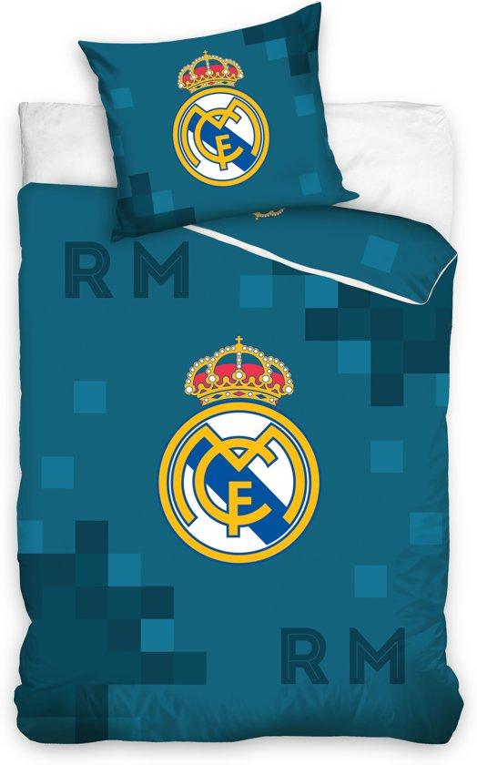 Real Madrid C.F. - Dekbedovertrek - Eenpersoons - 140x200 cm + 1 kussensloop 70x80 cm - Blue