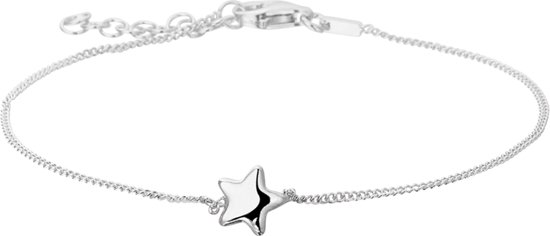 The Jewelry Collection Armband Ster 1,0 mm 17 + 3 cm - Zilver Gerhodineerd