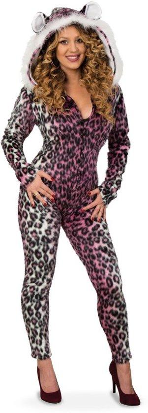 Panter catsuit pluche met muts voor dame maat 38