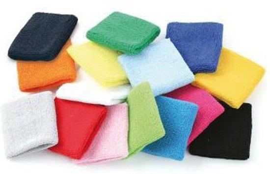 Zweetbandjes gekleurd voor de pols  zwart