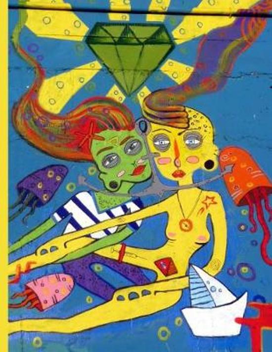 Modern Art - Two Women Floating in Ocean with Diamond Octopus and Sailboat