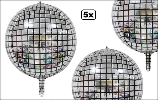 5x Folie ballon discobal 45cm