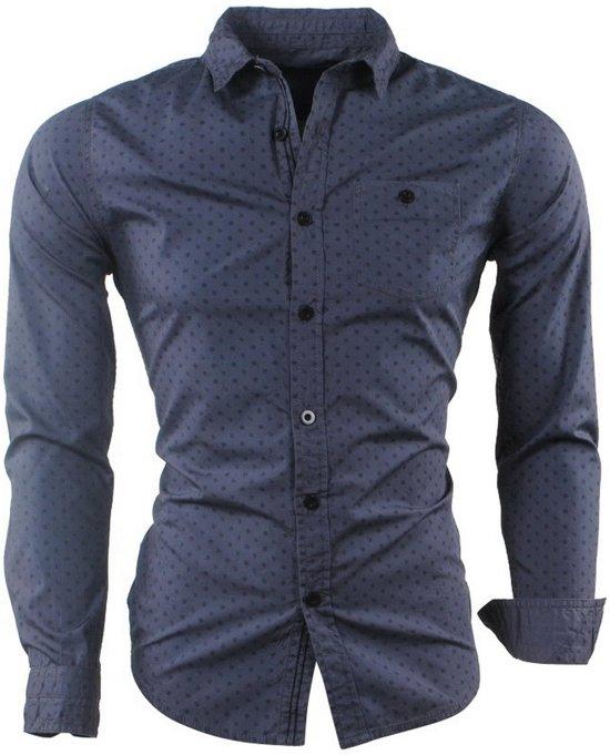Grijs Overhemd Heren.Bol Com Mz72 Heren Overhemd Met Trendy Design Borstzak