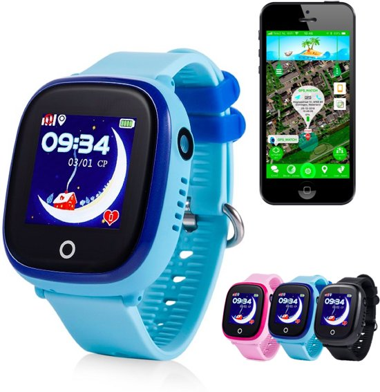 GPS tracker horloge kind junior AQUA Wifi Camera blauw [IP 67 Waterdicht]