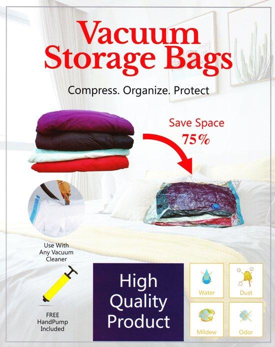 Vacuüm opbergzakken - (60x80cm, 6stuks)  Inclusief handpomp - Vacuum Storage Bags - Vacuüm opbergzakken met pomp - Opbergtassen - Vacuümzakken