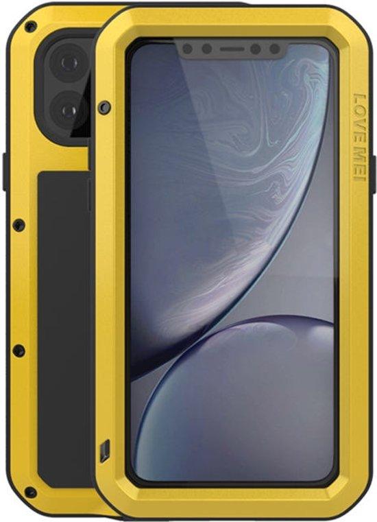 Metalen fullbody hoes voor Apple iPhone 11 Pro Max, Love Mei, Metalen extreme protection case, Geel