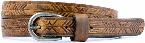 hippe naturel leren riem met azteken structuur - Maat: 95 cm