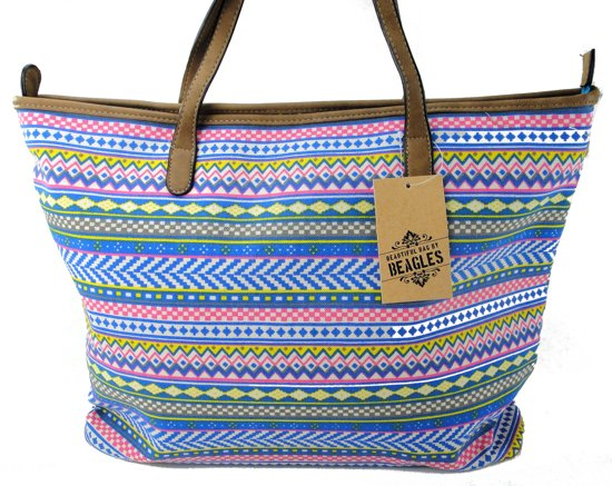 Beagles Neon Azteken Schoudertas Strand Tas Shopper Trendy