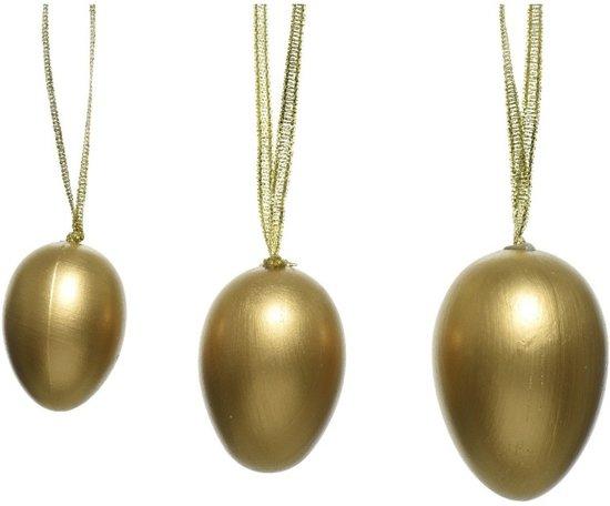 12x Pasen decoratie paaseieren goud 4-5-6 cm - Paastakken versieringen/decoraties gouden paaseitjes