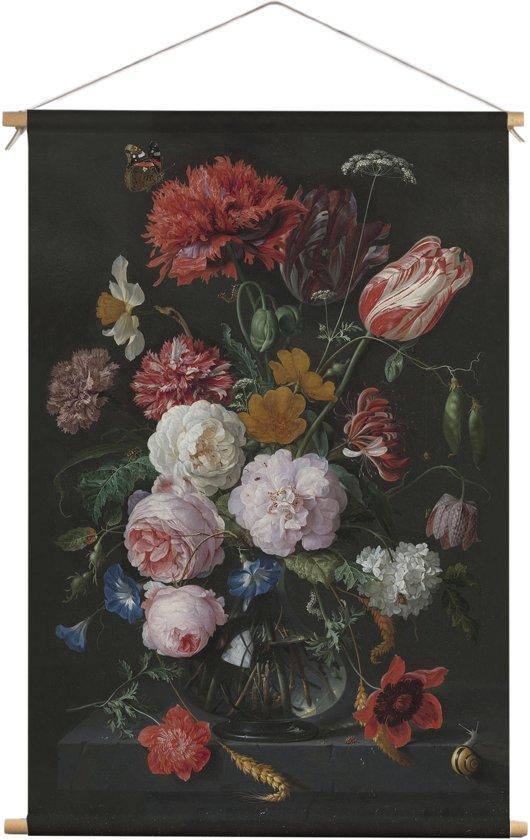 """Stilleven met bloemen in een glazen vaas   Jan Davidsz. de Heem   Textielposter   Wanddecoratie   30CM x 45CM""""   Schilderij"""