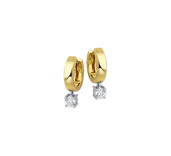 The Jewelry Collection Klapoorringen Zirkonia - Bicolor Goud
