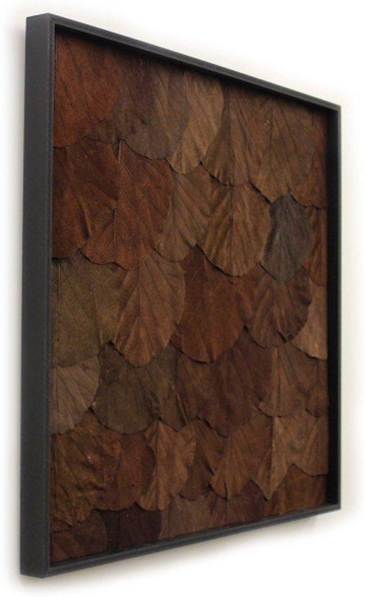 Wandpaneel - Natuur - Donker Bruin - Blad - 50x50cm