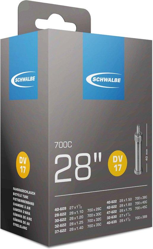 Schwalbe DV17 - Binnenband Fiets - Hollands Ventiel - 40 mm - 28 x 1 1/4 - 1 3/8 - 1 1/2 - 175