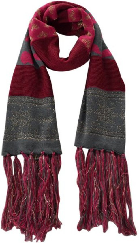 3e7b6081e46 gebreide sjaal Mave bordeaux rood/fuchsia/grijs