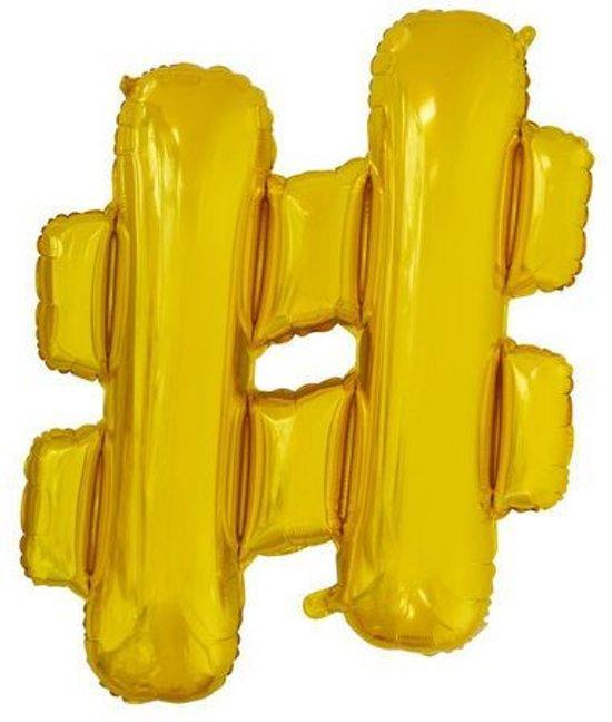 Folie Ballon Hashtag # Goud 41cm met rietje