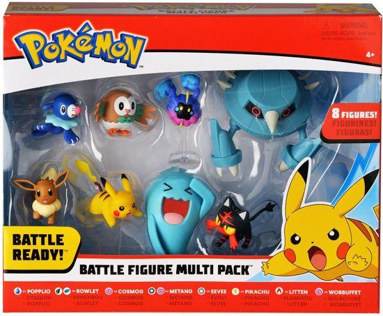 Afbeelding van Pokémon – Acht speelfiguren – Rowlet, Popplio, Litten, Eevee, Cosmog, Pikachu, Metang & Wobbuffet speelgoed