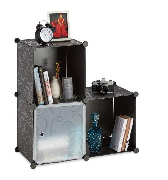 relaxdays vakkenkast open kast roomdivider kunststof zelf bouwen steekverbinding 3