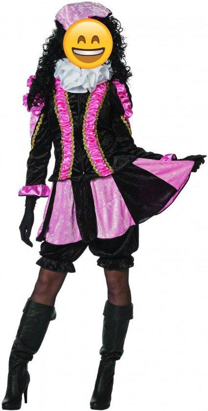 Zwarte Piet Kostuum   Roze Gestreepte Piet Dames   Vrouw   Maat 38   Sinterklaas   Verkleedkleding