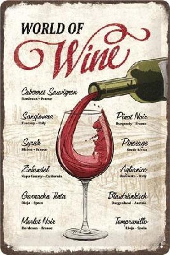 World of Wine Metalen wandbord in reliëf 20 x 30 cm.