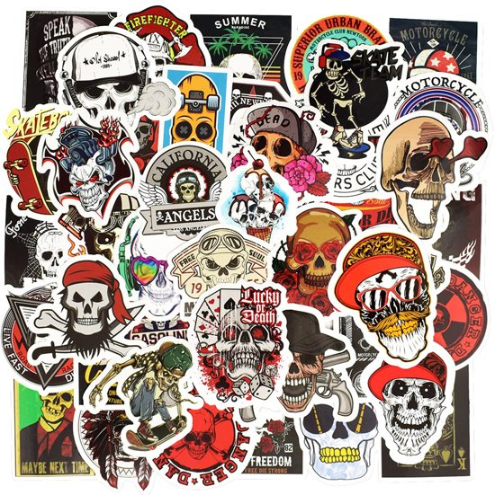 Random Sticker mix met 50 schedels/doodshoofden - Coole vinyl stickers voor motor, auto, laptop, skateboard, muur etc.