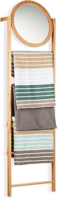 Bamboe Handdoek Ladder.Relaxdays Handdoekenrek Bamboe Handdoekladder Met Spiegel Handdoekhouder Aanleunen