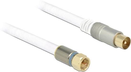 DeLOCK F - IEC, 3 m coax-kabel RG-6/U Wit