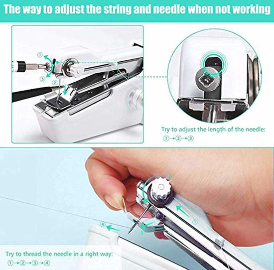 Handnaaimachine – Mini Naaimachine – Draagbare Naaimachine – Draadloze Naaimachine – Stitches - Handheld Sewing Machine