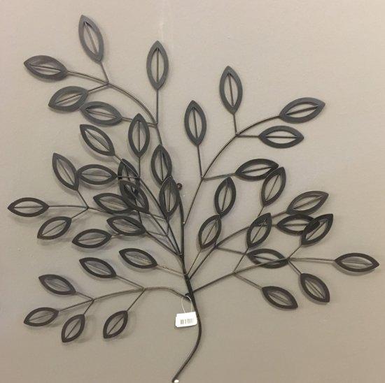 bolcom wanddecoratie tak metaal met bladeren in zwart