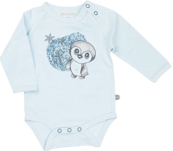 Minymo - newborn baby romper - pinquin - blauw - Maat 62