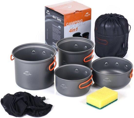 CAMPINGWISE ® 4 delige lichtgewicht stapelbare camping kookset. Deze pannenset is inclusief handig draagnet.