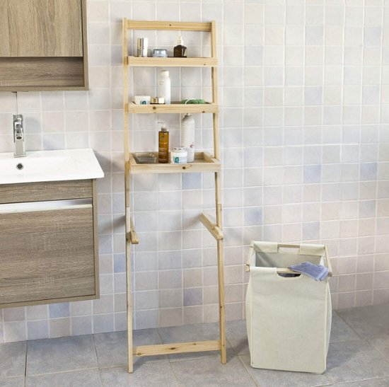Badkamerrek inclusief wasmand - Ladderplank - Hout